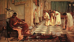 1883 depiction of a court scene, Honorius feeding his fowls with obsequious courtiers in attendance