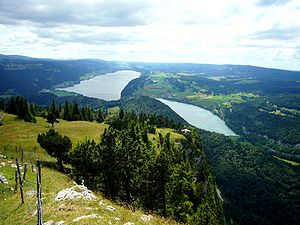 Vallée de Joux, Lake Joux and lake Brenet from...