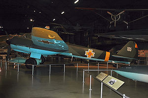 Royal Romanian Air Force - A preserved Junkers Ju 88 in the National Museum of the United States Air Force, painted with the Romanian markings it carried during World War II