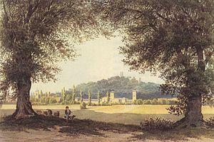 Bornstedt (Potsdam) - Image: Julius Hennicke Potsdam, Gut und Kirche Bornstedt und Ruinenberg
