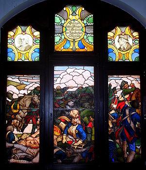 Battle of Landeshut (1760) - Image: Kamienna Góra, ratusz, witraż tzw. Pruskie Termopile 15.12.2010
