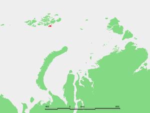 Salm Island - Location of Salm Island and its neighboring islands in the Franz Josef Archipelago
