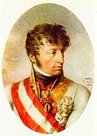 Oval painting of a young man with wavy hair in an elaborate white military coat.