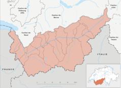 """Mapa konturowa Valais, po lewej nieco na dole znajduje się punkt z opisem """"Verbier"""""""