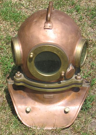 Diving helmet - Copper and brass three bolt Soviet diving helmet.