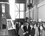 Kennedy, Johnson, and Webb in CCAFS Hangar S high bay (LOC-62-6880).jpg