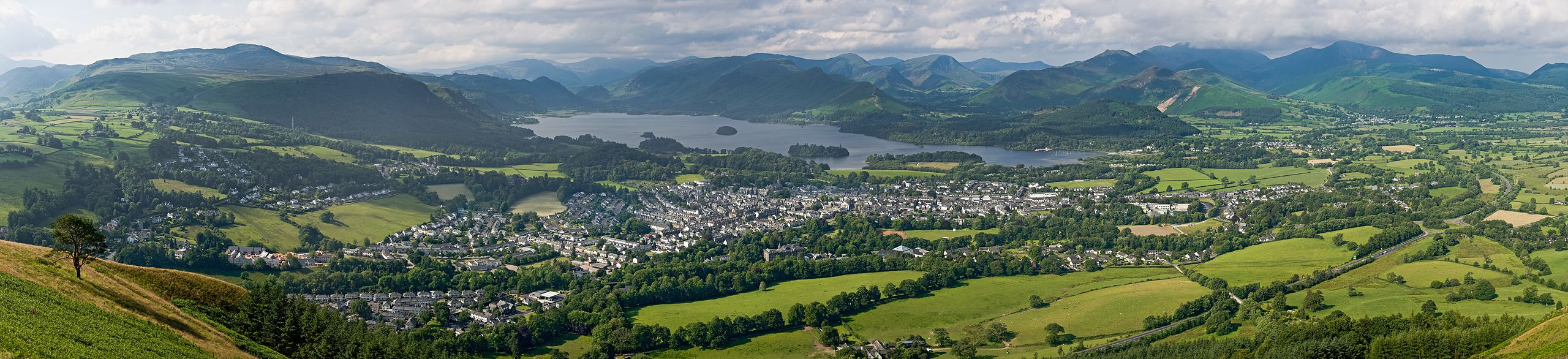 A panoramic view of Keswick, Derwentwater and the surrounding fells, as viewed from Latrigg north of the town. Photo by DAVID ILIFF. License: CC-BY-SA 3.0
