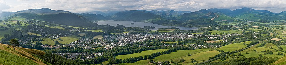 A panoramic view of Keswick, Derwentwater and the surrounding fells, as viewed from Latrigg north of the town