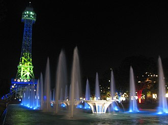 Kings Island - The Eiffel Tower and the fountains at night