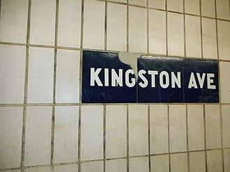 Kingston Avenue (IRT Eastern Parkway Line) - Image: Kingston Ave IRT Eastern Pkwy; IND style Mosaics