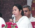 Km. Mamata Banerjee addressing the press after assuming the charge as the Union Minister for Railways, at the Eastern Railway Headquarters, in Sealdah, Kolkata (West Bengal) on May 26, 2009.jpg