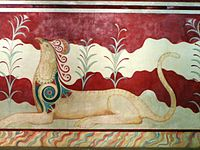 Knossos fresco in throne palace.JPG