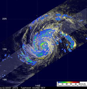 Typhoon Kong-rey (2007) - TRMM image of Typhoon Kong-rey taken on April 2 as it approach the Mariana Islands, showing the intensity of rainfall associated with the storm
