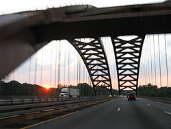The Thaddeus Kosciusko Bridge connects Halfmoon in Saratoga County to Colonie in Albany County, New York, over the Mohawk River.