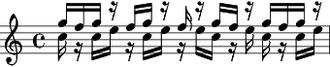 Kotekan - Kotekan empat. Stems-down is polos, stems-up is sangsih.