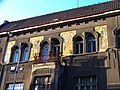 Kralupy nad Vltavou, Palackého náměstí 12, balkón a kresby.jpg