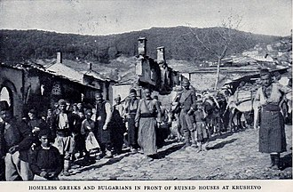 Kruševo Republic - Homeless inhabitants of Krushevo in front of the ruins of the town. Regarding the escape of the Bulgarian quarter from destruction, a bribery was suspected, or eventually the fear of an explosion of the ammunition stored there.