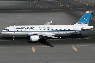 Kuwait Airways - A Kuwait Airways Airbus A320-200 at Dubai International Airport in 2014.