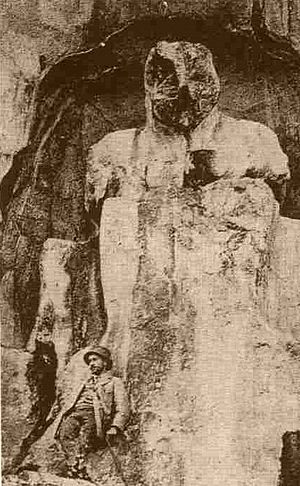Magnesia ad Sipylum - Early 20th century postcard image of the Hittite statue of the Mother Goddess Kybele in Mount Sipylus