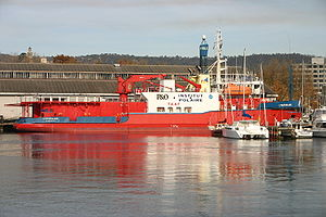 L'Astrolabe berthed at Franklin Wharf in Hobart, Tasmania, Australia.