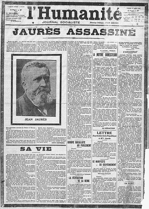 L'Humanité 1914-08-01 (Jaurès assassiné)