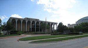 "LDS Visitors Center, Independence, Missouri - The LDS ""Mormon"" Visitors Center in central Independence, Missouri, located south across the street from the Independence Temple, and shown east across the street from the Community of Christ Auditorium, which is just visible to the right."