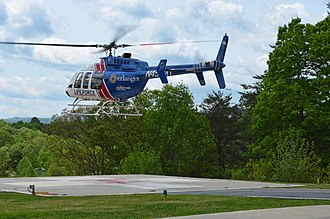 Erlanger Health System - Bell 407 taking off from LIFE FORCE 4 base in McCaysville, GA