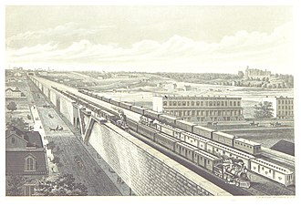 Park Avenue main line - A view of the new grade-separated line on a viaduct through the Harlem Flats in 1876.