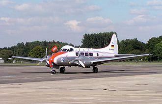 LTU International - Refurbished de Havilland DH.104 Dove in historic livery celebrating LTU's 50th anniversary at Mönchengladbach Airport.