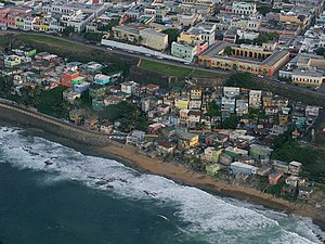La Perla, San Juan, Puerto Rico - Aerial view to La Perla pushed outside of the historical San Juan walls