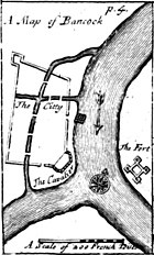 """An engraved map titled """"A Map of Bancock"""", showing a walled settlement on the west of a river, and a fort on the east"""