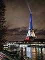 La tour Eiffel illuminée en bleu blanc rouge - Fluctuat nec Mergitur - Liberté, égalité, fraternité (22564367624).jpg