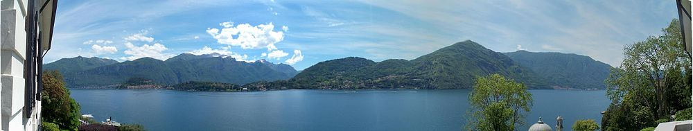 Lake Como seen from Villa Carlotta in Tremezzo, near the centre of the lake.