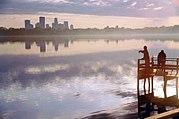 Fishing in Lake Calhoun in Minneapolis.