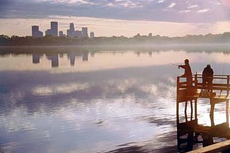 Minneapolis - View of downtown Minneapolis across Bde Maka Ska