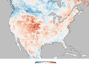Summer 2012 North American heat wave - Map of land surface temperature anomalies for June 17–24, 2012. The map depicts temperatures compared to the 2000–2011 average for the same eight-day period in June. (Land surface temperatures (LST) are distinct from the hot air temperatures that meteorological stations typically measure.)