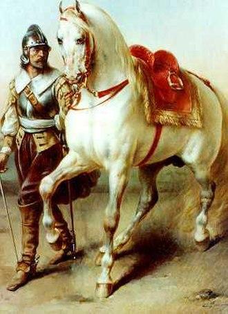 François-Émile de Lansac - Horse Led by a Soldier (1859). Private Collection.