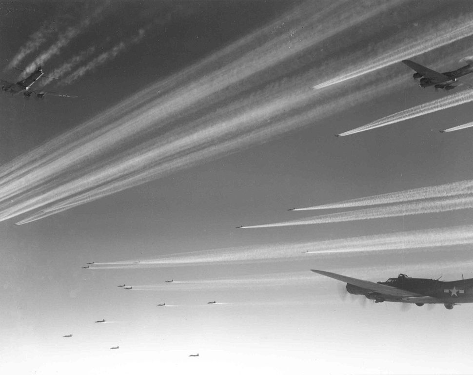 Large formation of Boeing B-17Fs of the 92nd Bomb Group