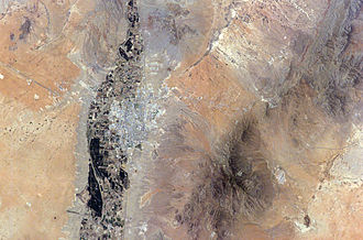Battle of El Brazito - Las Cruces and surrounding terrain from space.