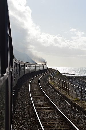 "Cumbrian Coast line - LMS Jubilee Class 4-6-0 no 45690 Leander working south down the Cumbrian Coast Line at Parton with ""The Cumbrian Coast Express"" on 30 September 2017"