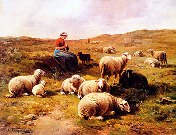 A shepherdess with her flock, grazing - oil on...