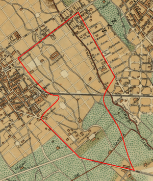 Les Tres Torres - 1890 map showing planned streets, with the modern boundary of Les Tres Torres