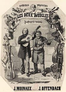 """Imagem da capa da partitura para piano e voz de """"Les Deux Aveugles"""""""