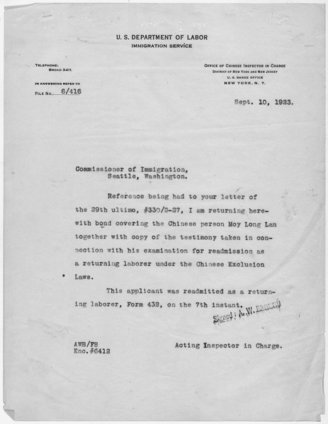 File:Letter from the Acting Inspector in Charge to the Commissioner of Immigration in Seattle, Washington returning the... - NARA - 278502.tif