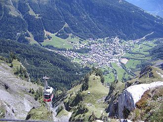 Leukerbad - A view of Leukerbad from the Gemmi Pass