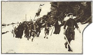 Charles XII (film) - Image: Likfärdsscenen ur filmen Karl XII senare delen (VJ 18 1925)