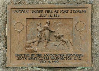 Fort Stevens (Washington, D.C.) - Marker memorializing Abraham Lincoln's visit to the fort