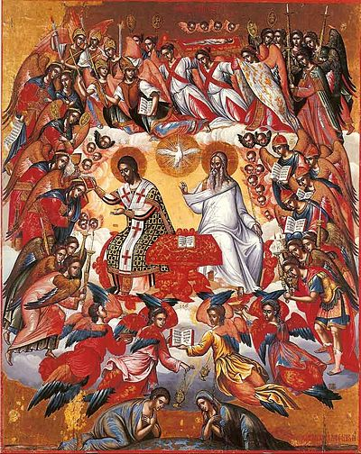 Michael Damaskenos Icon of the Holy Liturgy, from the 16th-century Cretan school, showing Western stylistic influence. LiturgieDamaskinos.jpg
