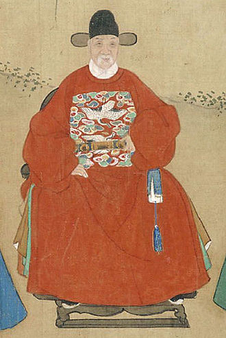 Mandarin square - A 15th-century portrait of the Ming minister Liu Daxia. His mandarin square indicates that he was a civil official of the first rank.
