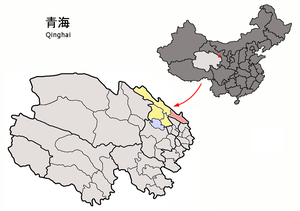 Menyuan Hui Autonomous County - Image: Location of Menyuan within Qinghai (China)